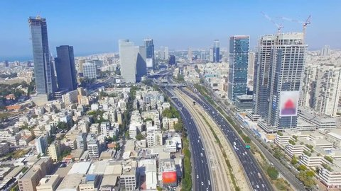 Tel Aviv skyline - Aerial footage of Tel Aviv's center with Ayalon freeway