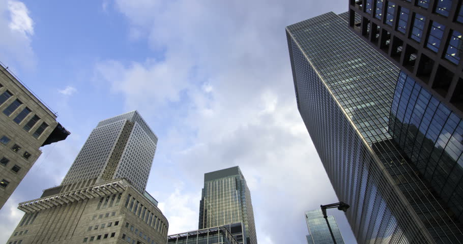 Time lapse panning view of the financial district of the Docklands in London