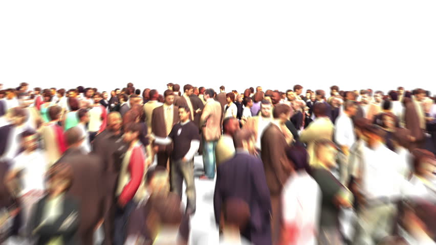 Crowd flight through - zoom out, motion blur, HD 1080p