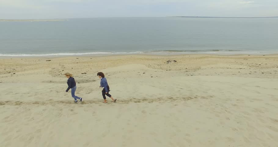 Two women walking together on sand dune | Shutterstock HD Video #20446549