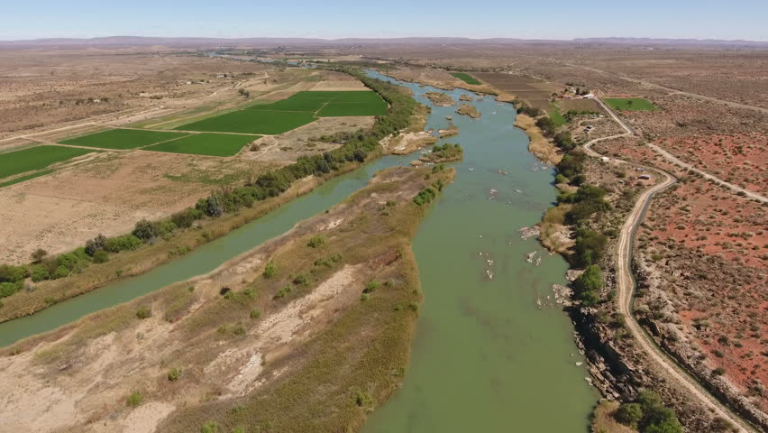 Aerial view of the Orange river and associated irrigation schemes in the arid region of the Northern Cape, South Africa