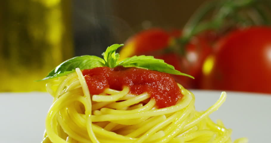 Macro Detail Of Italian Pasta With Tomatoes And Parmesan Cheese And Basil Concept Of Italian