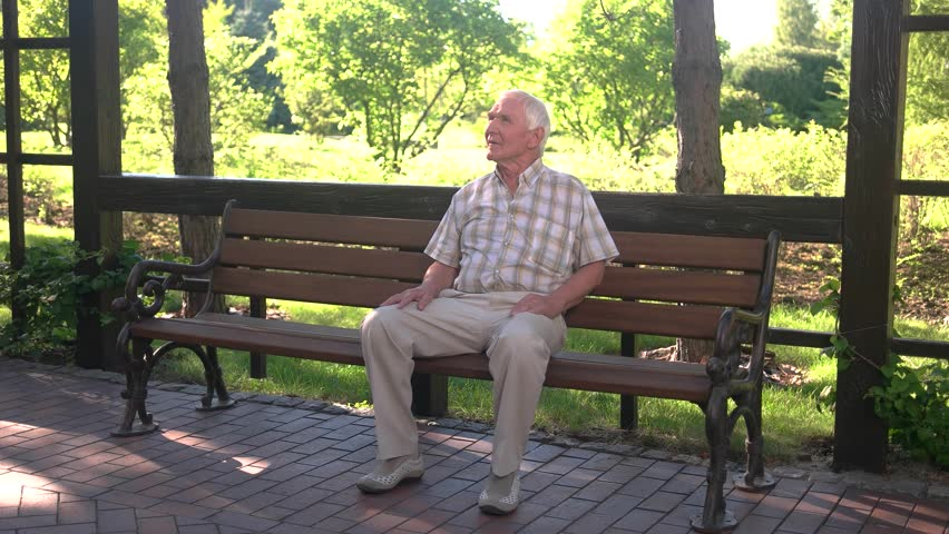 Senior Man On Park Bench Stock Footage Video 100 Royalty Free