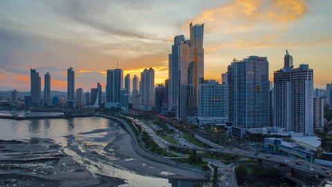 City skyline illuminated at dusk, Panama City, Panama, Central America (May 2016, Panama City, Panama)