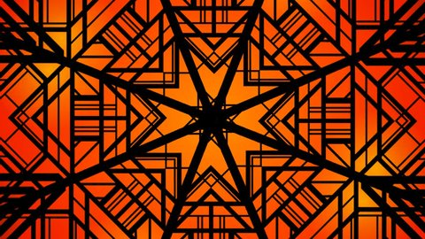 Art deco abstract seamless geometrical wavy background from golden fan shaped ornate feathers, banners with ethnic patterns. Batik painting. Oriental textile print.Loop wallpaper.Orange flower