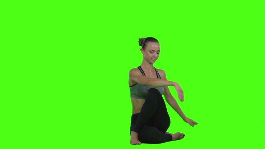 Girl doing exercises yoga. Green screen. Slow motion | Shutterstock HD Video #20477629