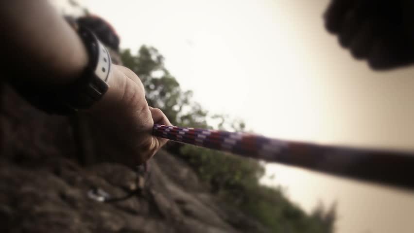 Close-up of climber's hands