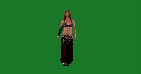 Green screen. Belly dance. Beautiful belly dancer dancing ethnic dances against green screen background. In sexy burgundi dress dancing . Full shot 2. 4K
