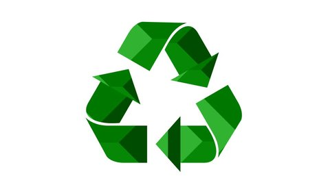 Universal recycle icon. Loopable animation with rotating arrows. Green color with texture. Alpha matte included.