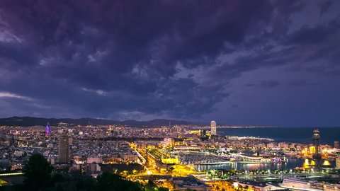 barcelona aerial view timelapse from day to night