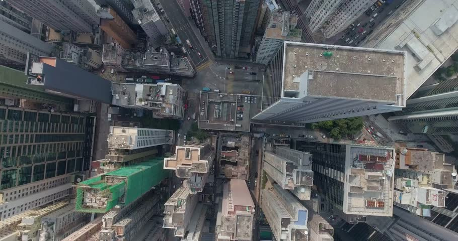 A bird's eye view of downtown Hong Kong in september. Top view of the city center.Beautiful aerial shot of many high skyscrapers. | Shutterstock HD Video #20529559