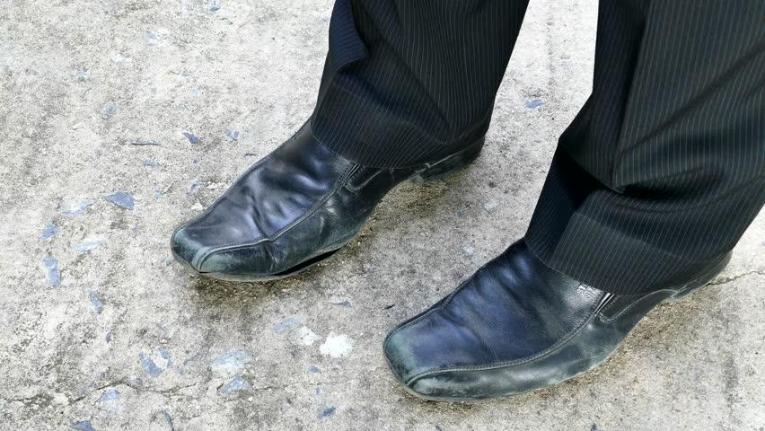 Men Wear Old Black Leather Stock Footage Video 100 -8925