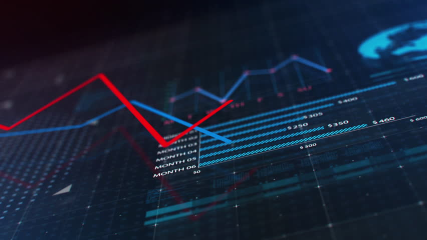 3d animation of glowing red and blue lines showing economic growth and decline on dark background with financial diagrams, charts and globe | Shutterstock HD Video #20548582