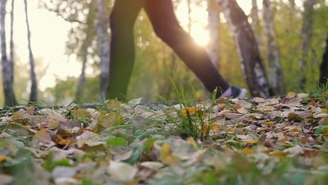 Young man in running shoes runs on fallen autumn leaves through the sun in the forest in slow motion. 1920x1080