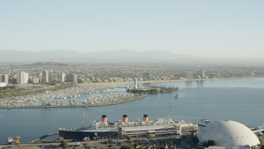 Los Angeles, USA - 2016: Aerial Long Beach Port Queen Mary California Aquarium Pacific Ocean city boat Cityscape harbor Coastline transport travel | Shutterstock HD Video #20570989