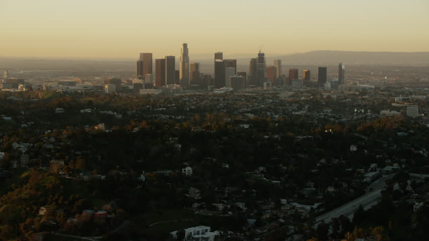 Los Angeles, USA - 2016: Aerial California sunrise Skyscraper Downtown city outdoor Cityscape commuter corporate business building commerce travel tourism vacation | Shutterstock HD Video #20571319