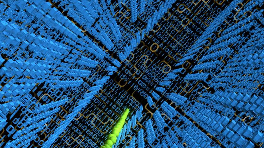 A computer worm navigating through a digital world.