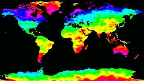 World map rainbow waves seamless loop 4k UHD