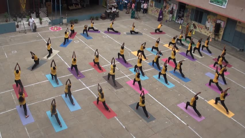 CHENNAI, INDIA - NOVEMBER 21, 2015: students yoga performance at school ground