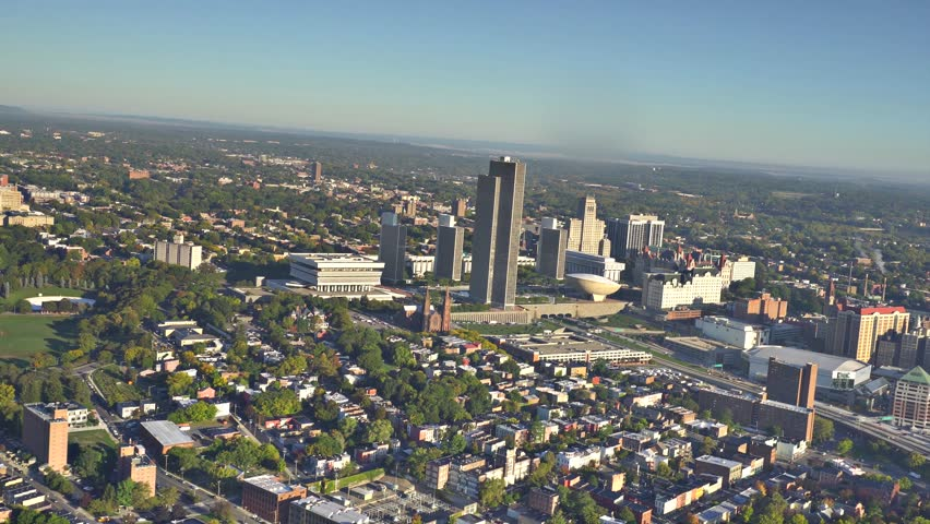 Albany NY AERIAL. Albany is the capital of the U.S. state of New York and the seat of Albany County. Roughly 150 miles (240 km) north of New York City