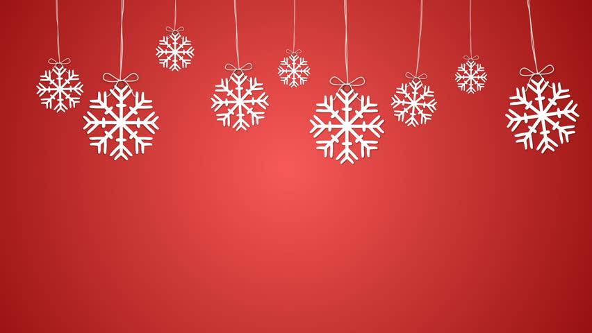 стоковое видео Snowflakes Red Background абсолютно без