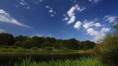 Timelapse clouds, summer nature landscape river Full HD 1920