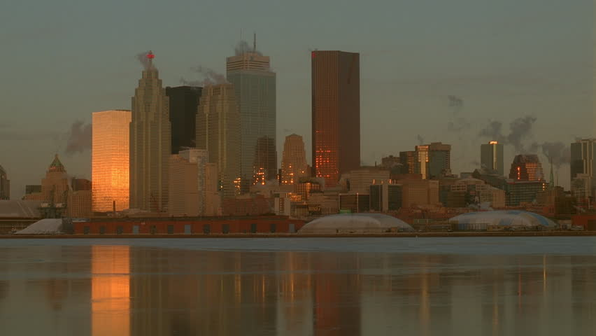 day  sunrise sunset medium shot across frozen icy water Toronto skyline city skyline see & Dusk Dawn Medium Shot Across Frozen Icy Water Toronto Skyline ...