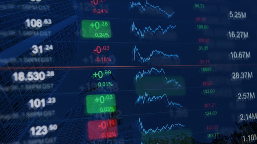 Financial video background: numbers and chart at background of financial buildings. Blue background for market news, business, financial themes. | Shutterstock HD Video #20769229