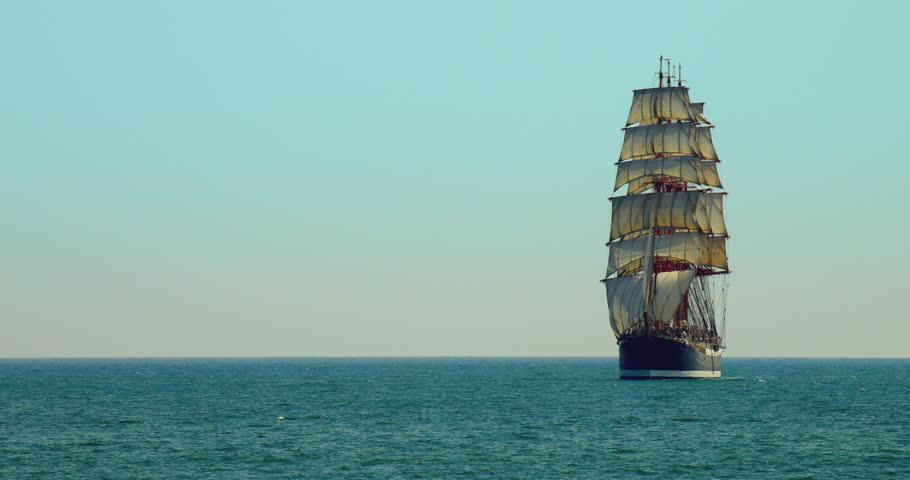 Sailing Ship Day Sailing on the Black Sea on a Blue Sky Background the Sailing Ship 3 Mast