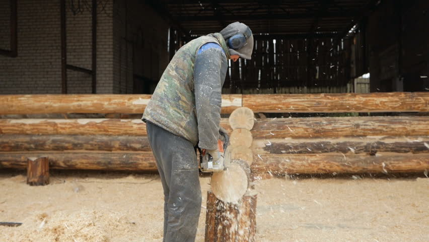 timber clip log man makes curly cutting wood chainsaw the log will be part of the