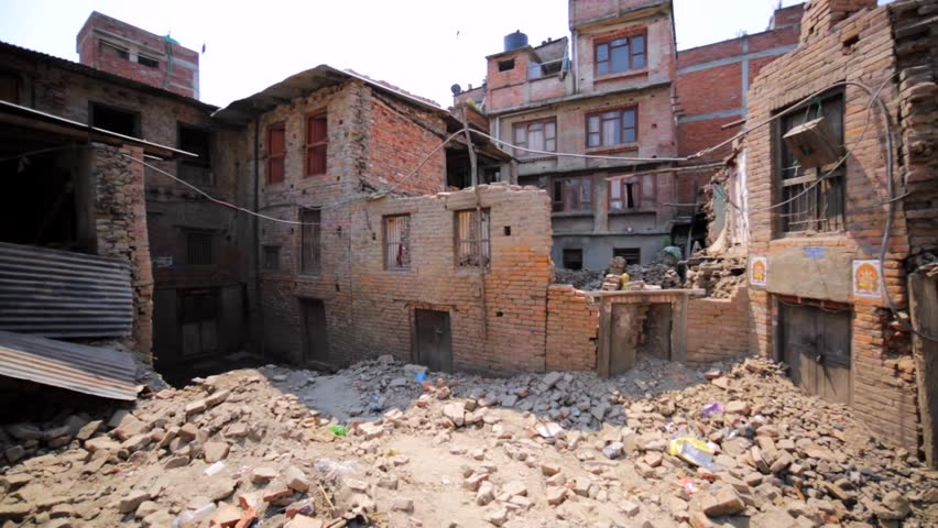 Buildings and houses destroyed in Bhaktapur, Nepal, by the earthquake in April 25, 2015. Earthquake occurred with a magnitude of 7.8Mw, killed 9000 people and injured nearly 22000