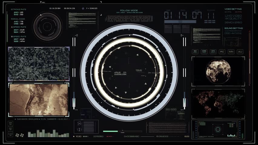 Futuristic system monitor with touch elements, map, GPS location and UI element design