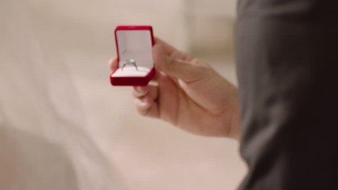 marriage proposal in slow motion, wearing ring, ring box, diamond ring, getting married, wedding day,