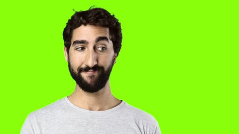 young crazy man surprised on chroma key