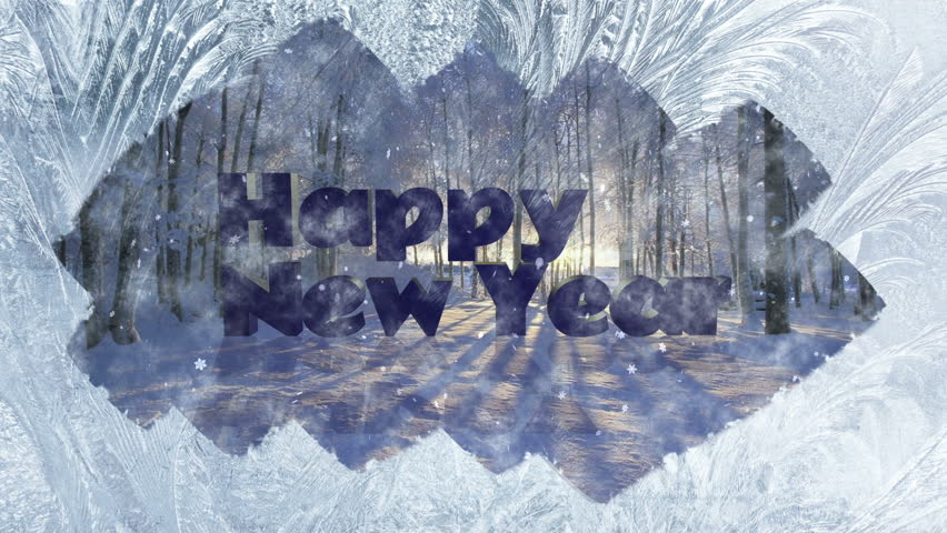 Winter background Frozen Window and text Happy New Year. | Shutterstock HD Video #20944999