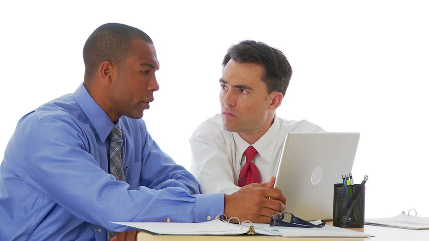 Two businessmen working at computer together | Shutterstock HD Video #2094689