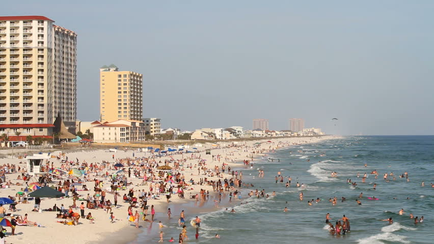 PENSACOLA BEACH, FL – MARCH 18: Tourists fill the beach during spring break weekend on March 18, 2012 in Pensacola Beach, Florida.