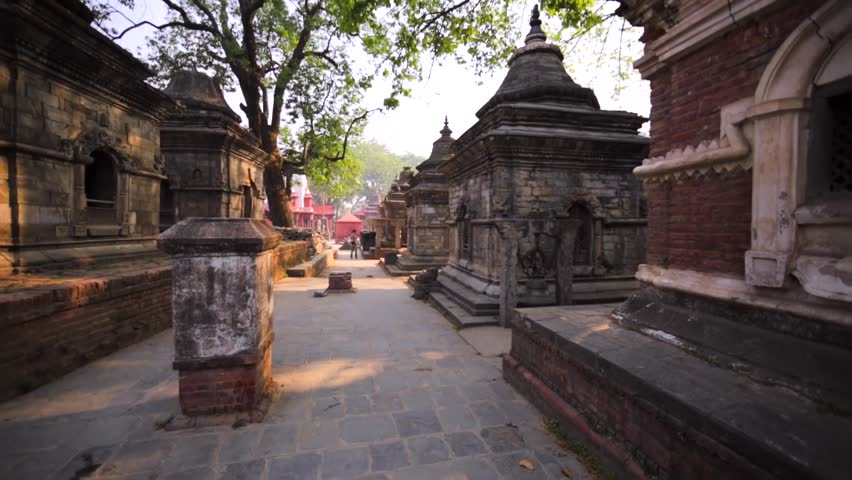 KATHMANDU, NEPAL - APRIL 11, 2016: The Pashupatinath Temple with small Shiva temples with lingams. Monkeys aren't afaid of men. This complex is on UNESCO World Heritage Sites's list since 1979