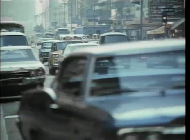 Wide shot of traffic in New York City, 1970s