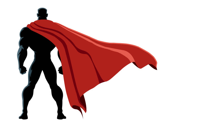 Animation of superhero with alpha channel.