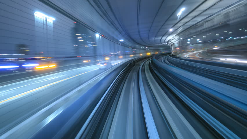 4K Time lapse of automatic train moving to tunnel, Tokyo, Japan  | Shutterstock Video #21030778