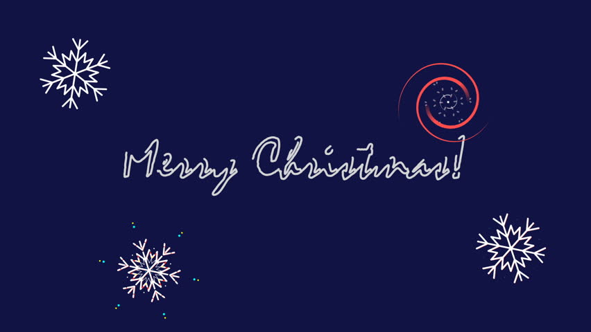 Animated snowflakes on a blue background, dynamically rotate. Animated snowflakes for the Christmas holiday. Smooth the display of text