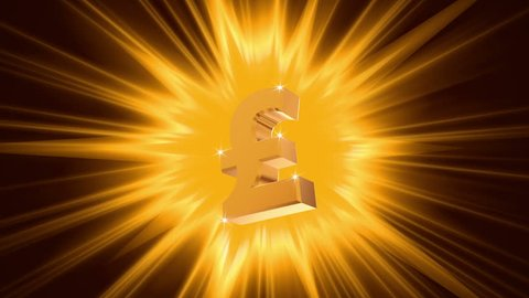 Pound sign on radiant light background, success, large income, jackpot winner