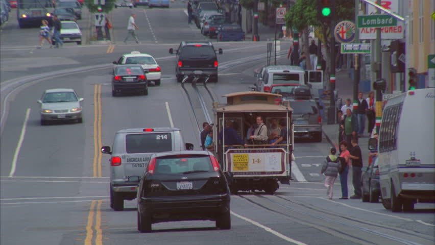 Day Moving trolley down busy street San Francisco | Shutterstock HD Video #21060775