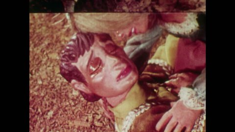 ANIMATED 1950s: Blind man starts to see Rapunzel after her tears heal his eyes. Rapunzel and her young man embrace.