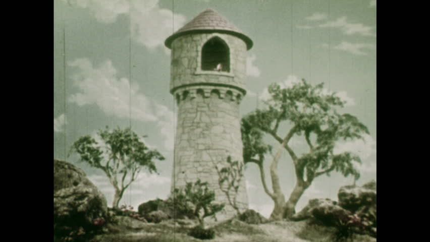ANIMATED 1950s: Stone tower and a tree. Rapunzel brushing her hair inside a tower. Puppet Rapunzel brushing her hair in her room.