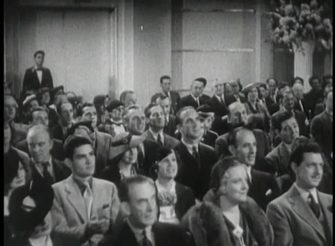 Wide shot of 1930s audience applauding | Shutterstock HD Video #2107169