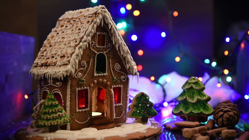 Christmas Gingerbread House Background.Gingerbread House With Lights On Stock Footage Video 100 Royalty Free 21096529 Shutterstock