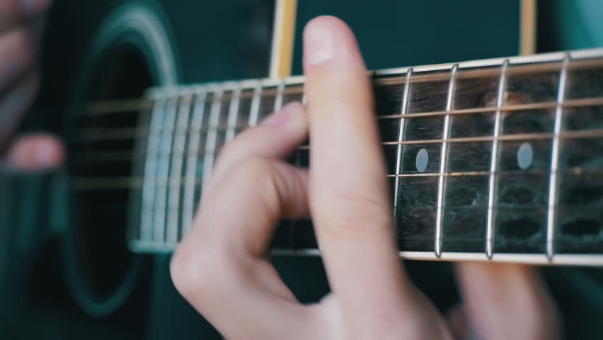 Man Playing Acoustic Guitar Slow Motion In 96 Fps Playing On