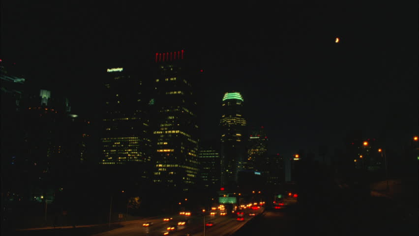 Night right over freeway downtown Los Angeles skyline, 6 FPS timelapse | Shutterstock HD Video #21113419